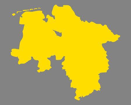 Karte von Niedersachsen Standard-Bild - 89707248