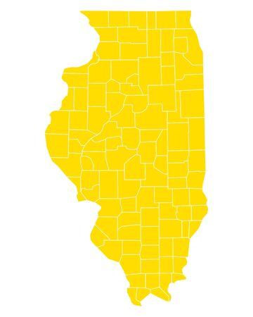 Map of Illinois 向量圖像