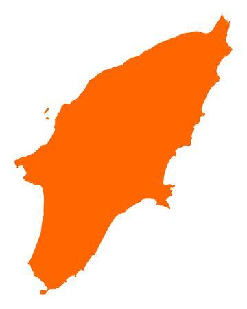 Map of Rhodos In volor orange silhoutte illustration.