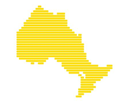 Map of Ontario in color yellow silhoutte illustration.