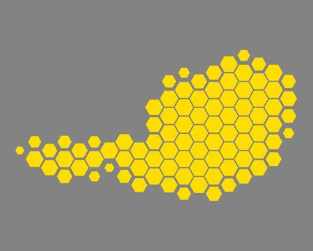 Map of Austria in dots repetitive colored pattern.
