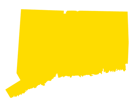 Map of Connecticut in colored silhouette pattern. Illustration