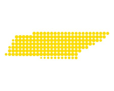 Map of Tennessee in dots repetitive colored pattern.