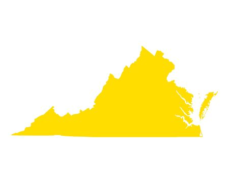 Map of Virginia in colored silhouette illustration. Çizim