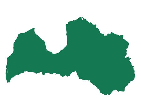 Map of Latvia in colored silhouette illustration. Çizim