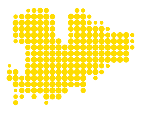 Map of Mykonos in dots repetitive pattern illustration. Ilustração