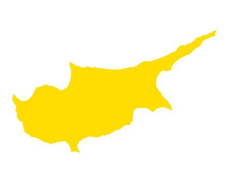 Map of Cyprus in colored silhouette illustration.