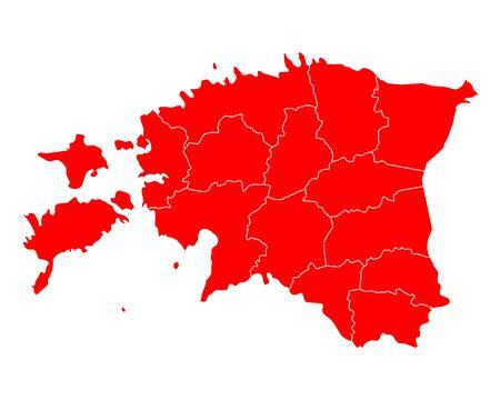 ●色付きシルエットイラストでエストニアの地図。  イラスト・ベクター素材