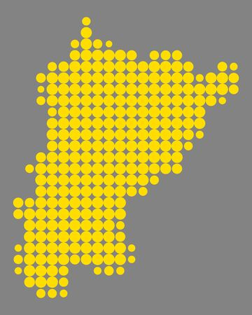 Map of Uri in colored repetitive dots pattern illustration.