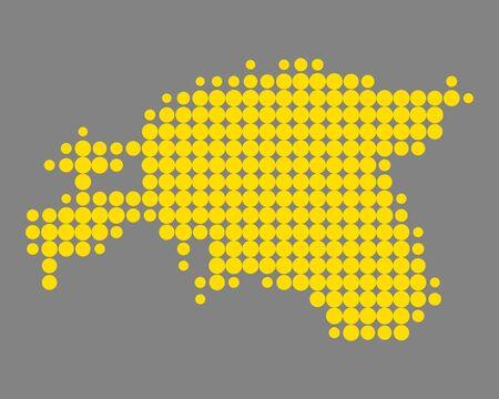 エストニアのイラストの地図。