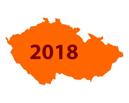Map of Czech Republic 2018 illustration.
