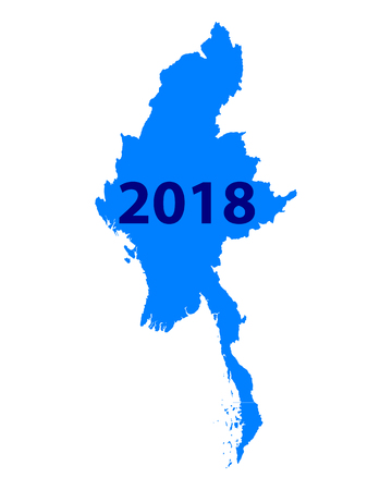 Map of Myanmar 2018 illustration. Иллюстрация