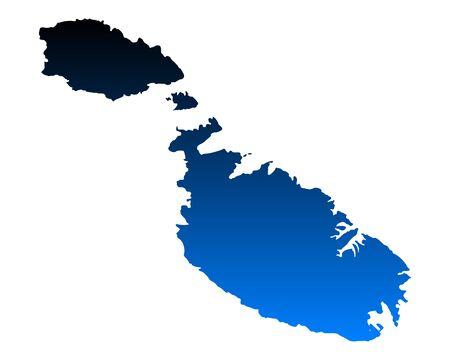 Map of Malta illustration.