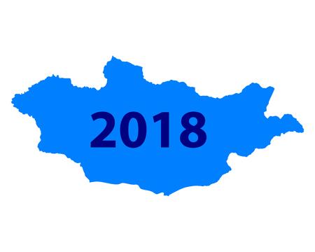 Map of Mongolia 2018 illustration.