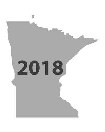 Map of Minnesota 2018 illustration.