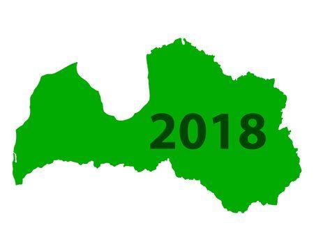 Map of Latvia 2018 Çizim