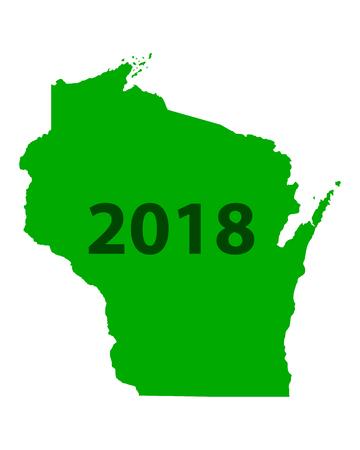 Map of Wisconsin 2018  イラスト・ベクター素材