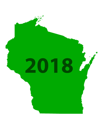 Map of Wisconsin 2018 Illustration