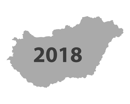 Map of Hungary 2018 Vector illustration.