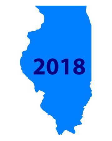 Map of Illinois 2018 Vector illustration.