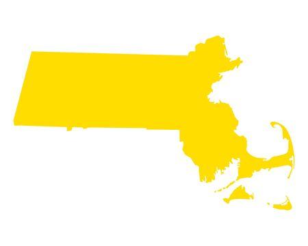 Map of Massachusetts illustration.