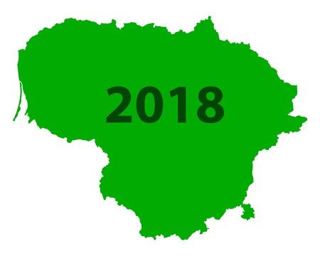 Green background formed like the map of Lithuania with number 2018. Ilustração