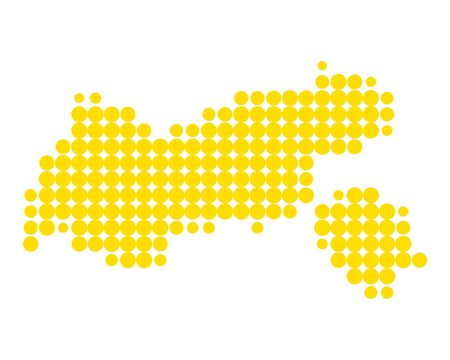 A Small yellow circles formed like a map of Tyrol Illustration