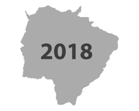 Gray background formed like a map of Mat Grosso do Sul with number 2018