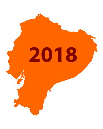 Orange background formed like a map of Ecuador with number 2018