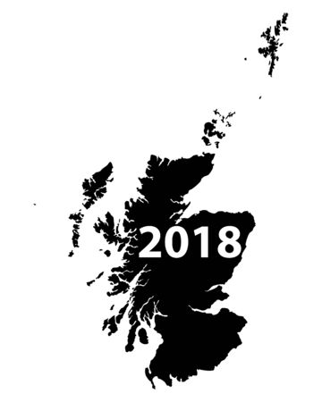 Splash of black ink formed like a map of Scotland with number 2018