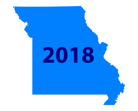 Number 2018 in an orange background formed like a map of Missouri Illustration