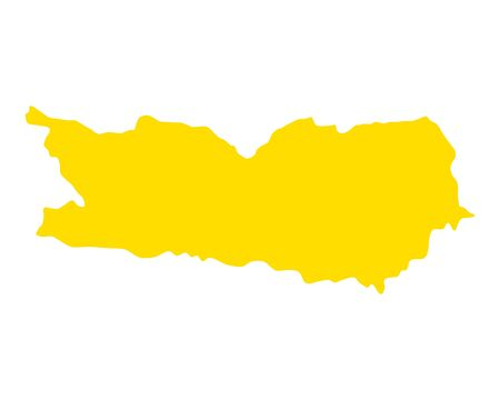 Splash of yellow ink formed like a map of Carinthia Ilustração