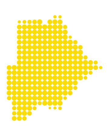 A seamless pattern of yellow dots formed like a Map of Botswana