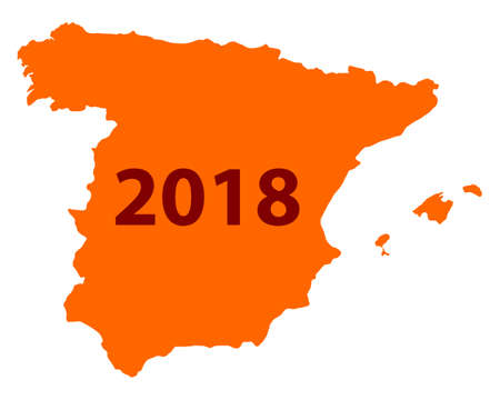 Number 2018 in an orange background formed like a map of Spain.