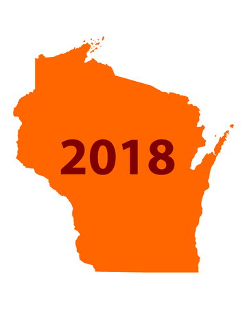 Map of Wisconsin 2018 Иллюстрация