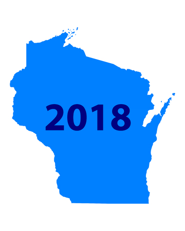 Map of Wisconsin 2018 向量圖像