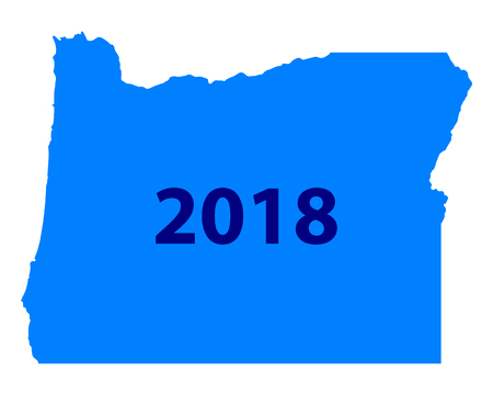 Map of Oregon 2018  イラスト・ベクター素材