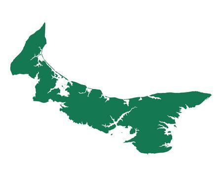 Map of Prince Edward Island vector illustration. Vettoriali