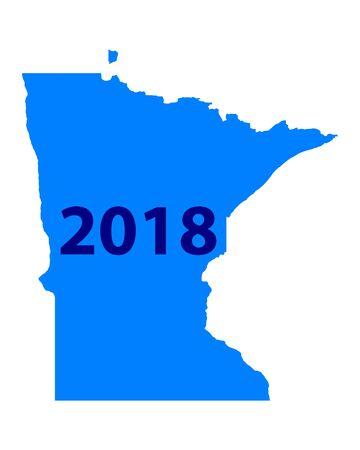 Map of Minnesota 2018 vector illustration. Illustration