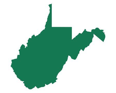 Map of West Virginia vector illustration.