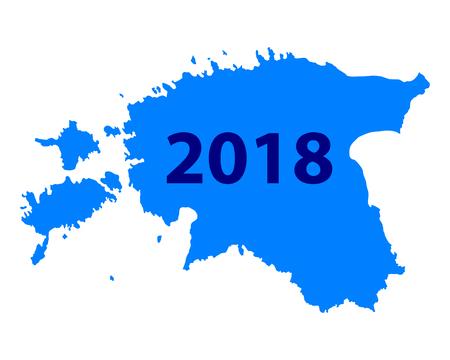 Kaart van Estland 2018 Stock Illustratie