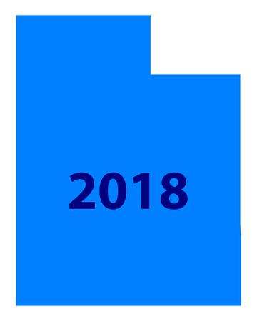 ユタ州地図 2018  イラスト・ベクター素材