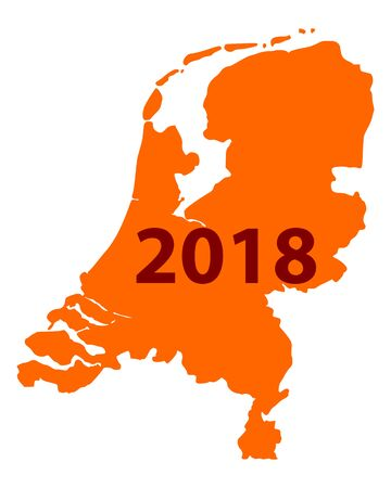Map of Netherlands 2018 Illustration
