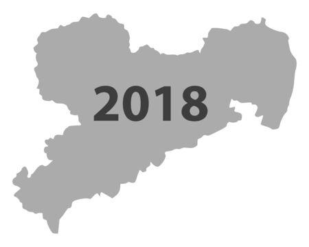 Karte von Sachsen 2018 Standard-Bild - 93079691