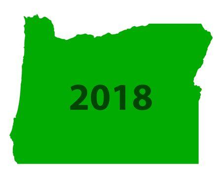 オレゴン州 地図 2018 写真素材 - 93079722