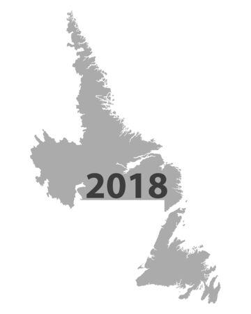 Carte de Terre-Neuve-et-Labrador 2018 Banque d'images - 93079782