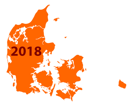 Map of Denmark 2018. Illustration