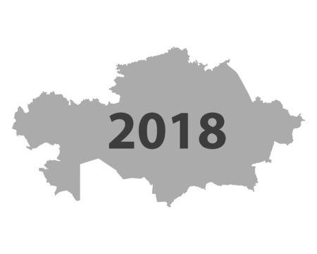 カザフスタン 2018 地図.  イラスト・ベクター素材