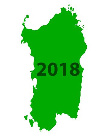 Map of Sardinia 2018  イラスト・ベクター素材