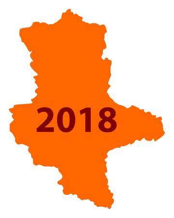 Karte von Sachsen-Anhalt 2018 Standard-Bild - 93228400